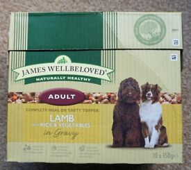 James Wellbeloved Adult Dog Food. Boxes of 10 x 150 gram sachets of lamb with rice and vegetables.