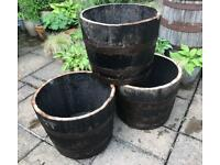 Oak Whisky Half Barrel Planter – Wooden – Container - Garden Feature – Leicestershire
