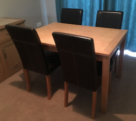 Dining Table and Four Leather Chairs