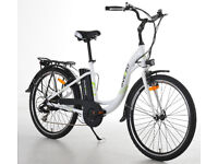 Electric bike/bicycle AS NEW-3 levels power, Over-fly. 6 gears, Step through frame. Medium size