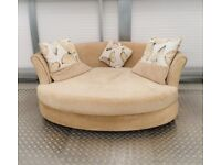 DFS Cuddler Sofa Textured Fabric / Oval Shaped