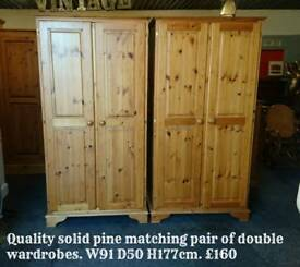 Solid pine double wardrobes