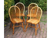 Solid Pine - Dining Chairs x 4 - Lovely - HQ - Solid Pine - Vintage