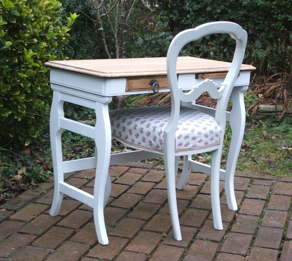 Small Vintage Oak Desk / Table and Chair - Shabby Chic