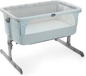 Chicco next to me grey and sky blue cot