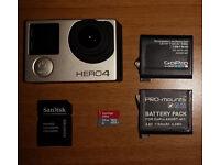 GoPro Hero 4 Silver as new + battery + microSD + lot of accessories