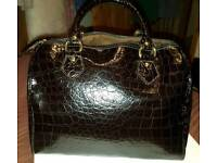 Dark brown real Italian Leather handbag