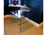 Bent Glass Side Table, Large, Curved Glass Coffee Table