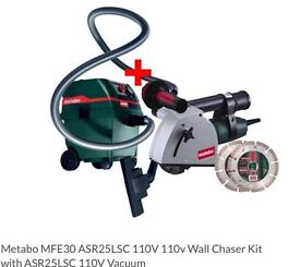 Metabo 110v wall chaser and vacuum with spare blades