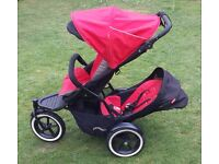 Phil & Teds Navigator double buggy cherry red with raincover
