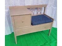 Old chalk paint hall and telephone TABLE with seat - DELIVERY AVAILABLE