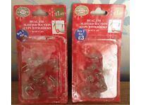Christmas in July 2 Packets of Dual Use Slotted Suction Cups with Hooks