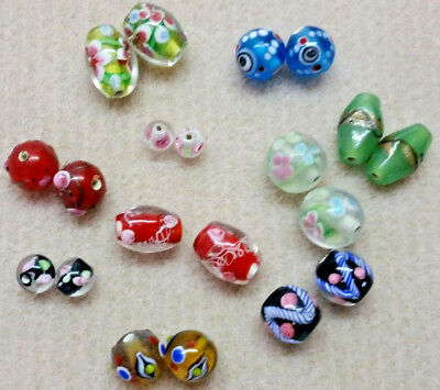 Bead Oddment - Hand Made Lampwork Glass Beads - 10 Mixed Pairs