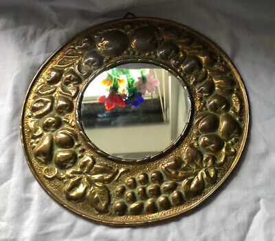 Vintage Old Pressed Brass Fruit and leaves Round Mirror - 25cms diamteter