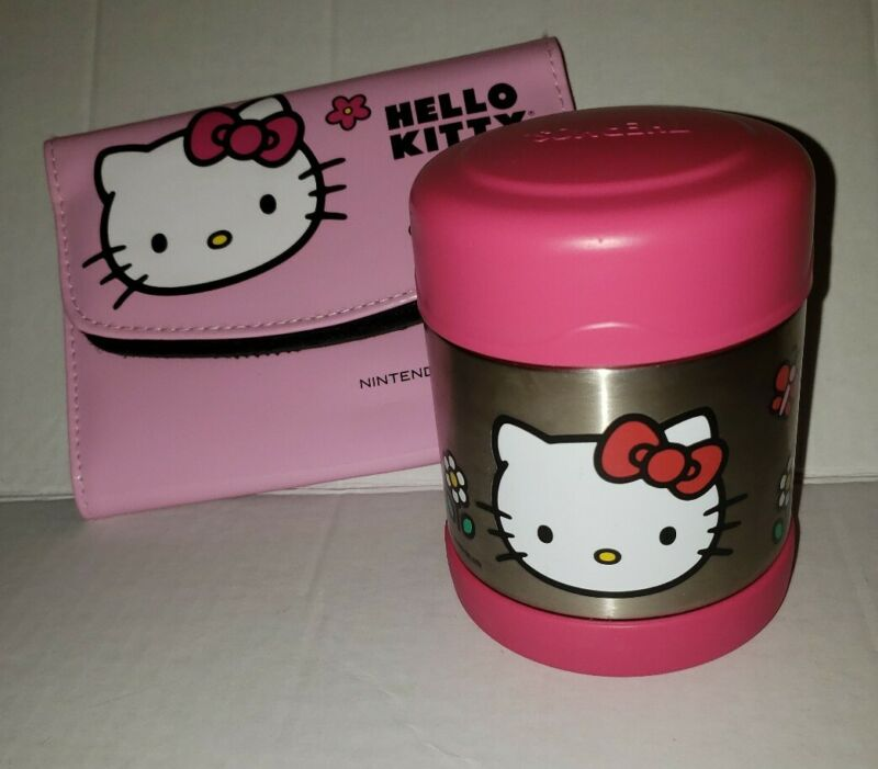 Hello Kitty Nintendo 3DS XL Pink Vinyl Case Carrying Case & Hello Kitty Thermos
