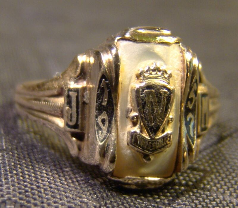 Vintage Art Deco 10 K Yellow Gold & MOP Mid Century Noblesville Sz 6 Class Ring