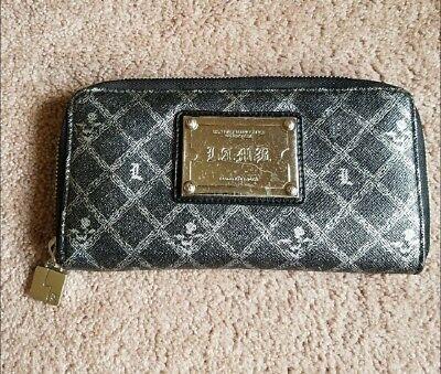 L A M B  Black Signature Zip Around Wallet
