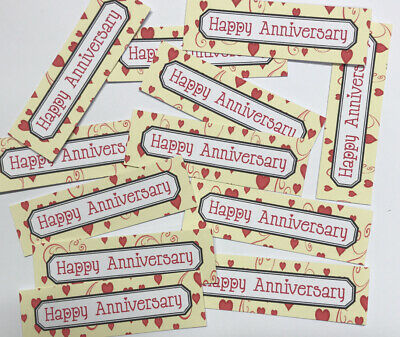 12 HAPPY ANNIVERSARY Sentiments/Banners Hand Made Card Toppers HEARTS+SWIRLS