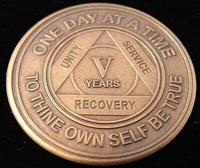 Alcoholics Anonymous AA 5 Year Bronze Medallion Token Coin Chip Sobriety Sober