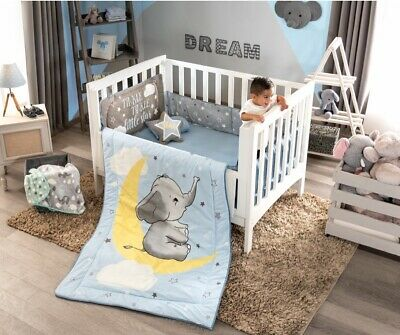 NEW BABY ELEPHANT BLUE & GRAY MOON BOY NURSERY CRIB BEDDING SET 6 PCS