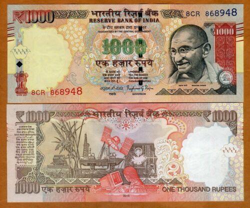 India, 1000 Rupees, 2016, P-107-New, Letter-L UNC > Gandhi