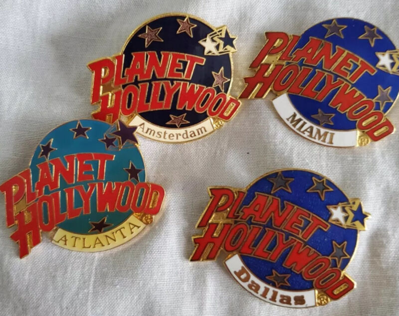 PLANET HOLLYWOOD PIN LOT OF 4 MIAMI DALLAS ATLANTA AMSTERDAM GLOBE COLLECTOR