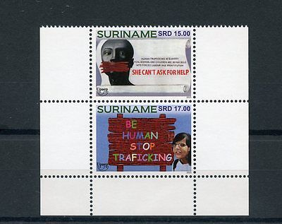 Suriname 2015 MNH UPAEP Human Trafficking 2v Block Set