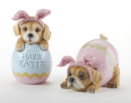"New Spring 2 HAPPY EASTER EGG GOLDEN PUG PUPPY DOG FIGURINE Statue Figures 6"""