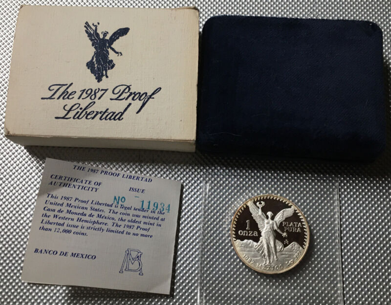 1987 Mo Mexico 1 Oz Proof Libertad Onza Nicely Toned Coin With Box & COA
