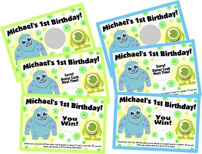 RSONLIZED SCRATCH OFF OFFS PARTY GAME CARDS BIRTHDAY FAVORS (Baby-monsters Inc)