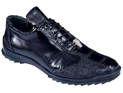 Los Altos Genuine Black Ostrich Leg Casual Shoes Lace Up Handmade Sneaker EE (Black Ostrich)