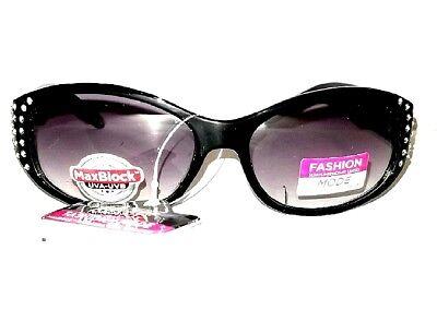 893da966ea50 Womans Black Foster Grant Lux 4 Rhinestone Glitter Sport Wrap Sunglasses  100% UV