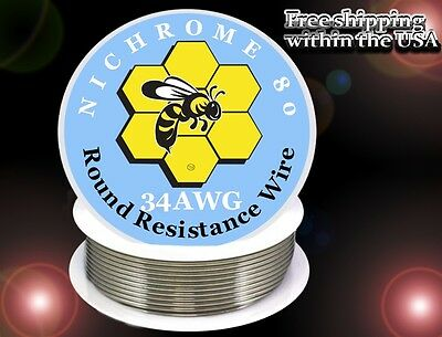 Nichrome 80 34 Gauge Awg Round Wire 250ft Roll 16.3769 Ohmsft Resistance