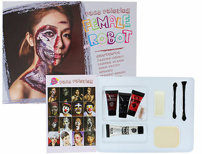 Halloween Female Robot Face Painting Contains Paint, Blood, Putty & - Female Halloween Face Painting