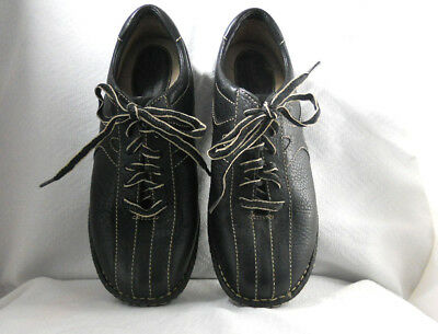 Black Lace Up Stitch (BORN Black Lace Up Shoes Sneaker Sz 9 1/2 US Walking Leather Contrast Stitching )