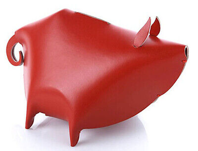Piggy Bank Large Red Leather Desk Organizer Office Home By Vacavaliente