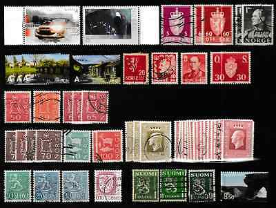 Small collection of Norway Norge & Finland Suomi stamps. Some MNH