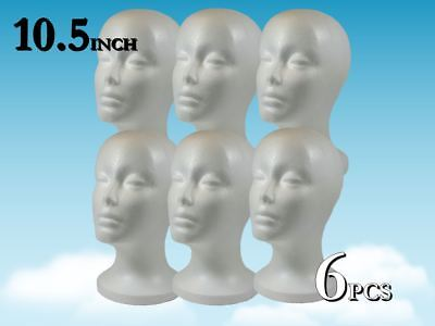 "10.5"" WIG STYROFOAM HEAD FOAM MANNEQUIN DISPLAY / 6pc"