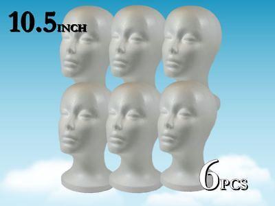 10.5 Wig Styrofoam Head Foam Mannequin Display 6pc