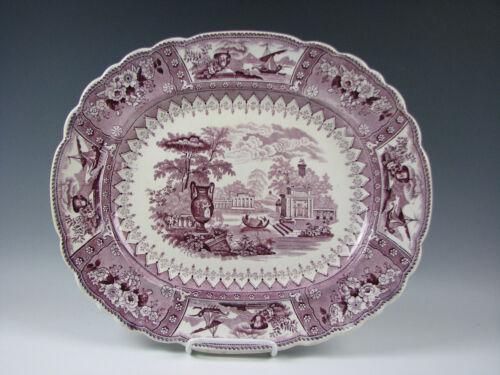 "Antique Purple Staffordshire Canova Pattern Platter 15&1/2"""