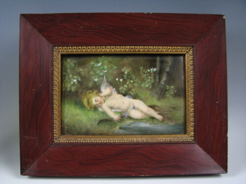 Antique Hand Painted Porcelain Plaque of Cupid Asleep
