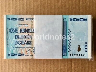 Full Bundle 100 Pieces x ZIMBABWE 100 Trillion Dollars P-91 Guaranteed Authentic