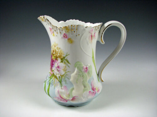 RS Prussia Hidden Images German Porcelain Pitcher Antique