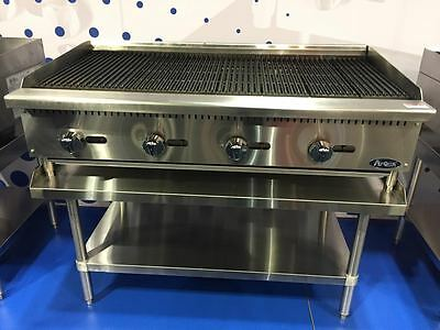 New 48 Lava Rock Char Broiler With Stainless Equipment Stand Package Deal Gas