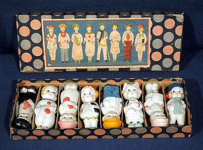 Vintage Antique circa 1930's Bisque Doll Set Japan Set of 8 Box Frozen Charlotte