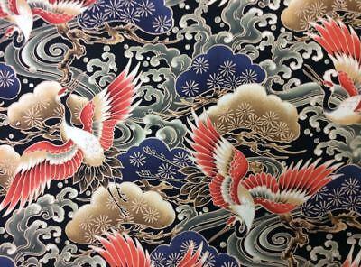 TP030 Asian Crane Bird Japanese Asian Water Wave Sashiko Cotton Quilt Fabric