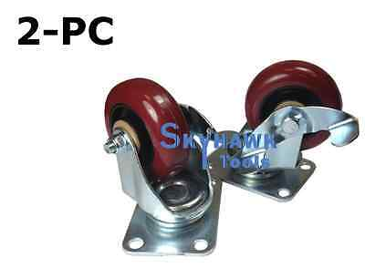 "2pc 132lb-Capacity 3/"" PU LOCKING WHEEL SWIVEL TOP PLATE CASTER SET"