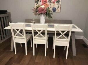 IKEA table + 4 chairs + bench