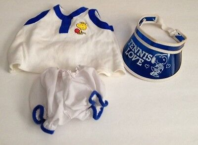 Vintage 1965 Belle Snoopy's Sister Tennis Outfit with visor Woodstock label 15