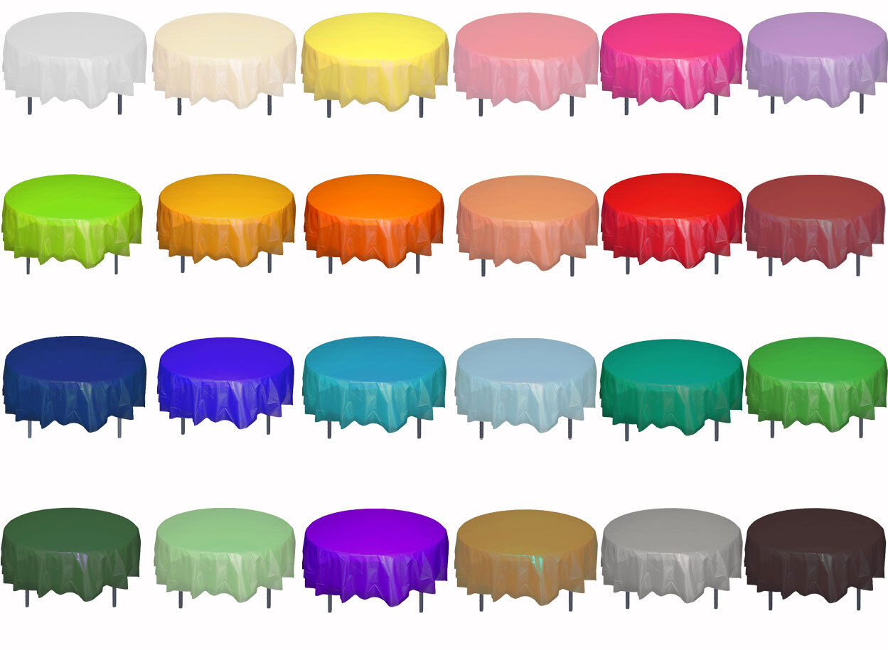 """Premium Plastic Table Covers 84"""" ROUND HEAVY DUTY TABLECLOTH"""